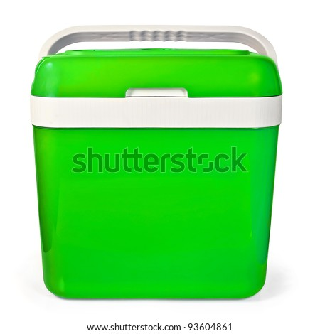 Green small portable refrigerator for traveling in the car isolated on white background