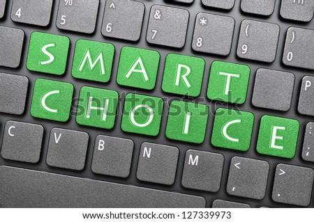 Green smart choice key on keyboard