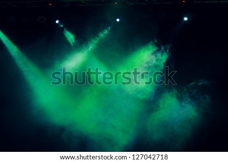 Green smoke effect on concert lighting