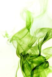Green smoke rising vertically on white background.