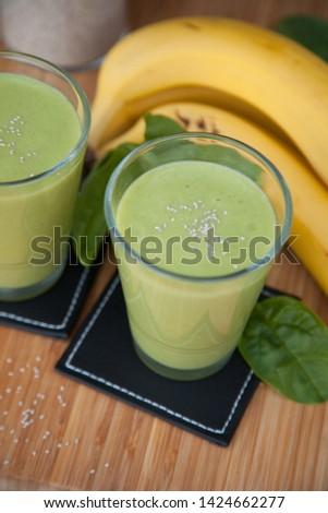 Green smoothie, fresh, raw food.