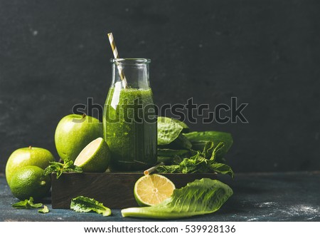 Shutterstock Green smoothie with apple, romaine lettuce, lime and mint, dark blue background, selective focus, copy space. Detox, dieting, clean eating, vegetarian, vegan, fitness or healthy lifestyle concept