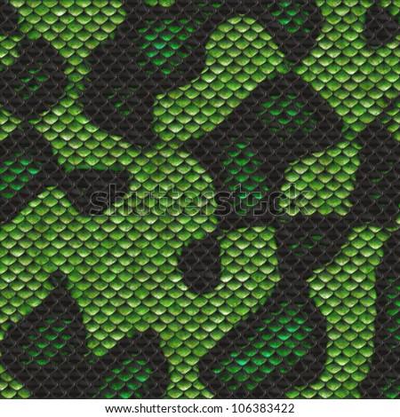 green snake skin texture - stock photo