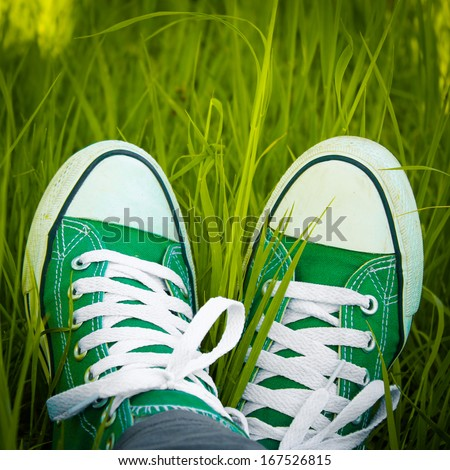 Green sneakers in the grass #167526815