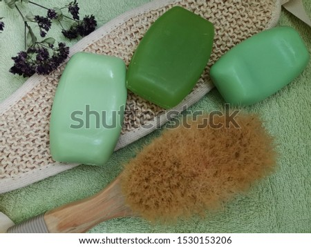 green soap on a green towel