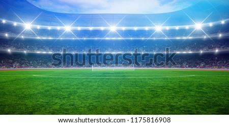 Green soccer stadium, illuminated field, arena in night #1175816908