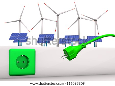 Green socket with green plug, solar panels and wind towers. White background.