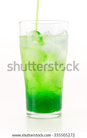 green soda on white background