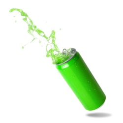 Green soda splashing out of a green canned isolated on white background.