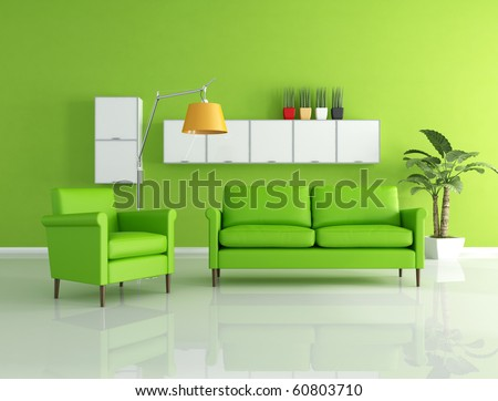 green sofa and armchair in a modern living room