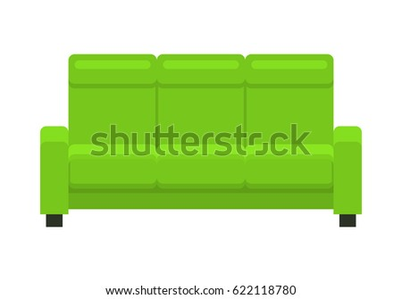 Green sofa. Icon of furniture for an house interior, living room: classic or modern and vintage cozy couch. Flat colorful illustration isolated on white background.