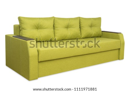 Green sofa isolated on a white background. Green sofa isolated on white include clipping path. #1111971881