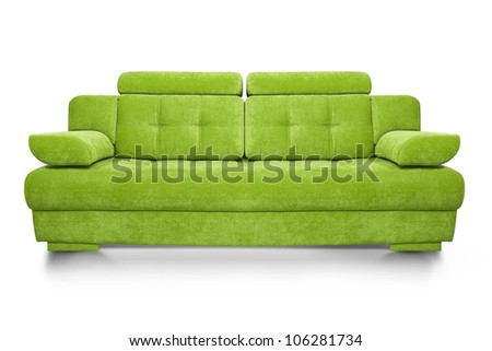Green sofa isolated on white background, front view.