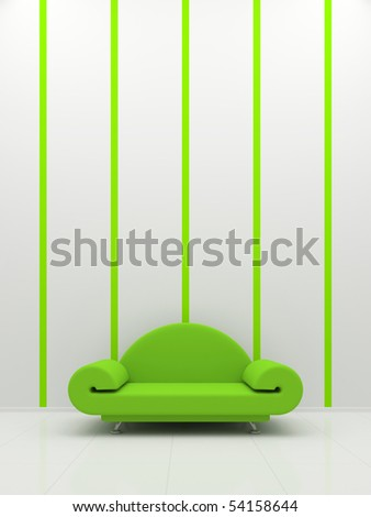 Green sofa on a white background