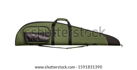 Green soft case for guns isolated for white background. Bag for storing and transporting weapons, guns and carbines.