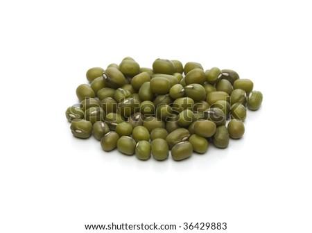 green soja beans on white