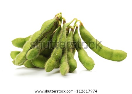 green soy bean on white background