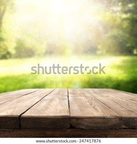 green space and brown table