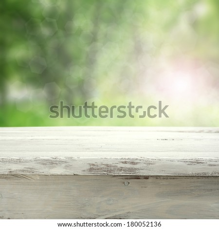 green space and wooden white desk