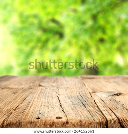 green space desk of wood and free space for you