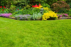 green space with flowers in the background