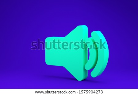 Green Speaker volume icon - audio voice sound symbol, media music icon isolated on blue background. Minimalism concept. 3d illustration 3D render stock photo