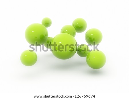 Green spheres on a white background