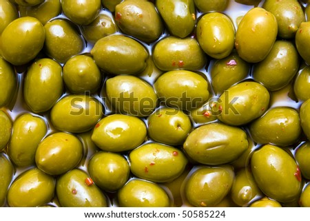 Green spicy olives