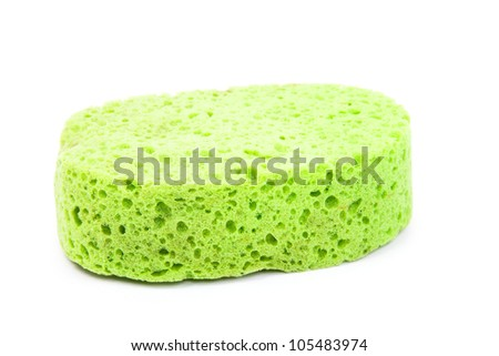green sponge isolated on a white background