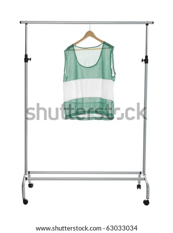 Green sport shirt on a Clothes Rack isolated