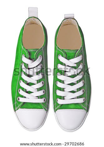 green sport shoes