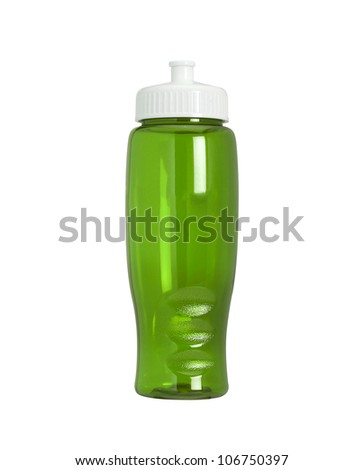 Green sports bottle isolated on white