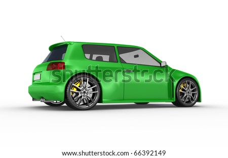 Green sports car. No trademark issues as the car is my own design.This is a detailed 3D render.