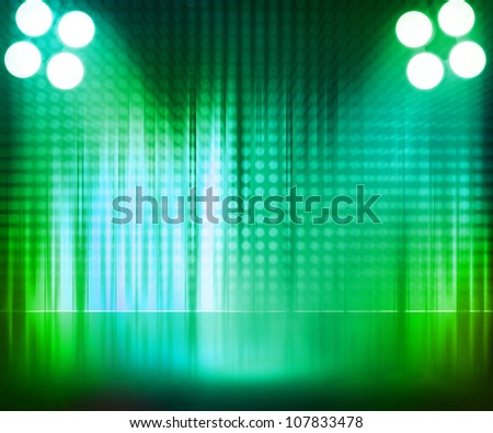 Green Spotlight Stage Background