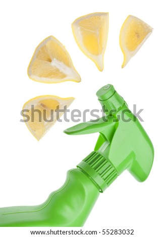 Green Spray Bottle with Lemon Slice Spray for a Green Environmentally Friendly Cleaning Concept Image.  Isolated on White with a Clipping Path. - stock photo