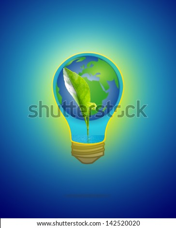 Green sprout growing from seed with water & earth in light bulb on blue