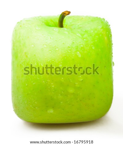 green Square apple on a white background.