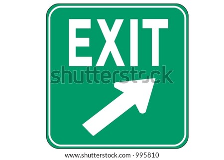 Green Square Exit Right sign isolated on a white background.