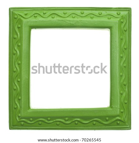 Green Square Modern Vibrant Colored Empty Frame Isolated on White with a Clipping Path.