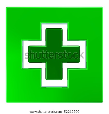 Green square with cross isolated on white. Computer generated 3D photo rendering.