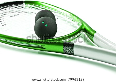 Green squash racket with balls on white background with space for text