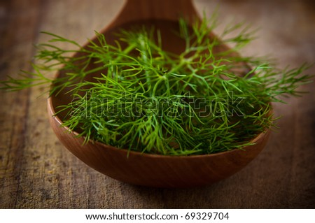 green stalks of dill in a wooden spoon