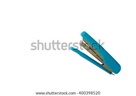 green stapler isolated on white background.copy space
