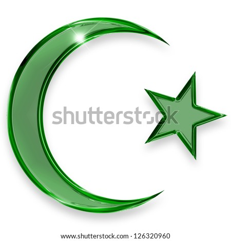green star and crescent emblem of islam - stock photo
