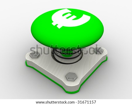 Green start button on a metal platform