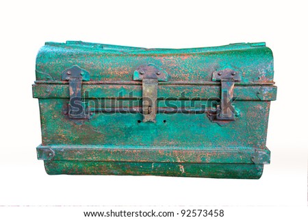 green steel box on white background