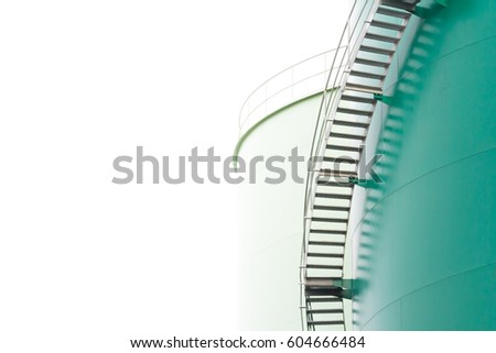 green steel silos isolate on white background