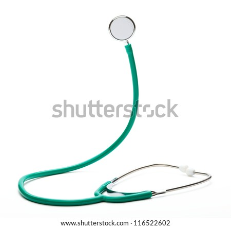 Green stethoscope, isolated over white - stock photo