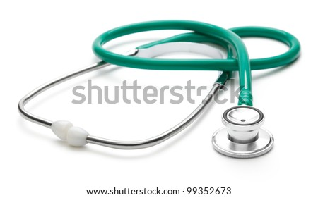Green stethoscope, isolated over white