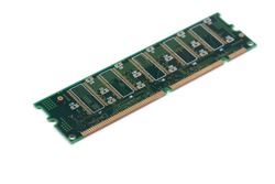 Green stick of RAM memory for computer with electronics components isolated on white background
